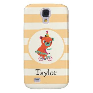 Orange Circus Bear on Bicycle; Peach Stripes Samsung Galaxy S4 Case