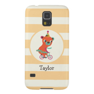 Orange Circus Bear on Bicycle; Peach Stripes Case For Galaxy S5