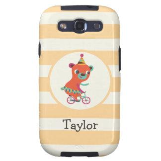 Orange Circus Bear on Bicycle; Peach Stripes Samsung Galaxy S3 Covers