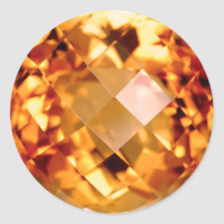 Orange Citrine Classic Round Sticker