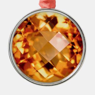 Orange Citrine Silver-Colored Round Decoration