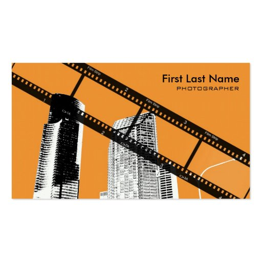 Orange city scape photographer custom cards business card template