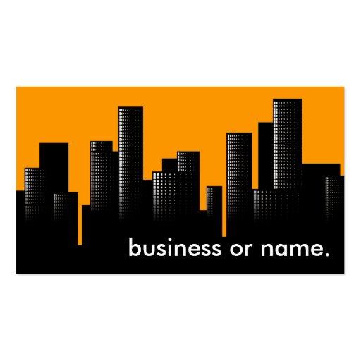 orange cityscape business card