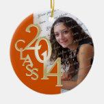 Orange Class 2014 Graduation Photo Round Ceramic Decoration
