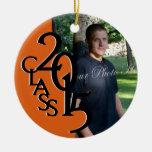 Orange Class 2015 Graduation Photo Round Ceramic Decoration