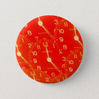 Orange Clock Face 6 Cm Round Badge