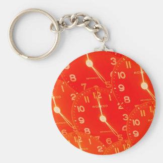 Orange Clock Face Key Ring