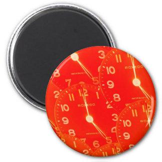 Orange Clock Face 6 Cm Round Magnet