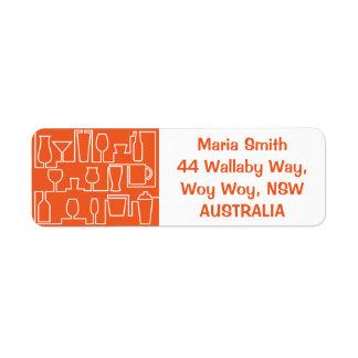 Orange cocktail party return address label