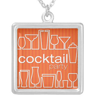 Orange cocktail party silver plated necklace