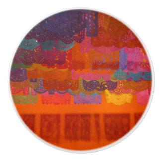 Orange Coco Mexican Banners Bold Colors Ceramic Knob