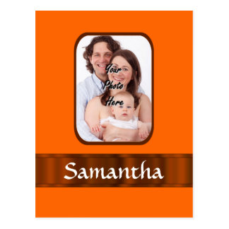 Orange color personalized postcard