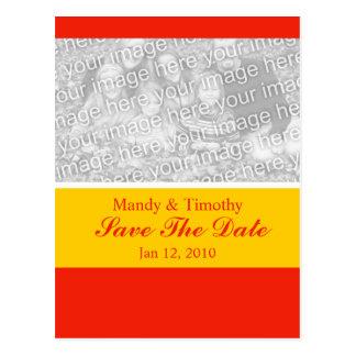 orange color save the date postcard