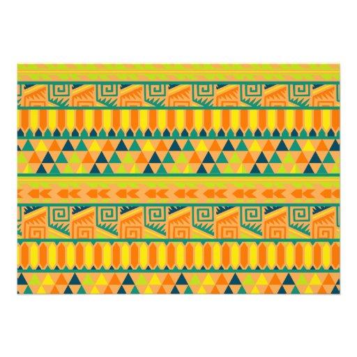 Orange Colorful Abstract Aztec Tribal Print Pattrn Custom Invites