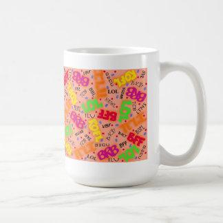 Orange Colorful Electronic Texting Art Abbreviatio Mug