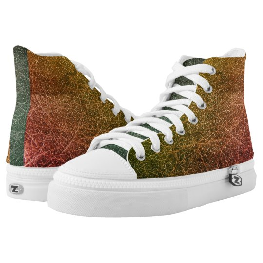 Orange Colourful High Top Shoes Printed Shoes