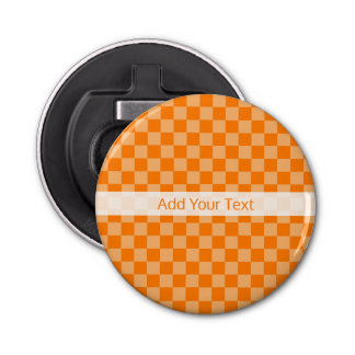 Orange Combination Checkerboard by Shirley Taylor Bottle Opener