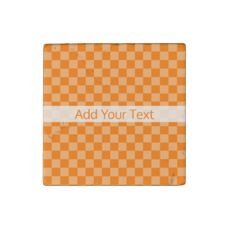 Orange Combination Checkerboard by Shirley Taylor Stone Magnet