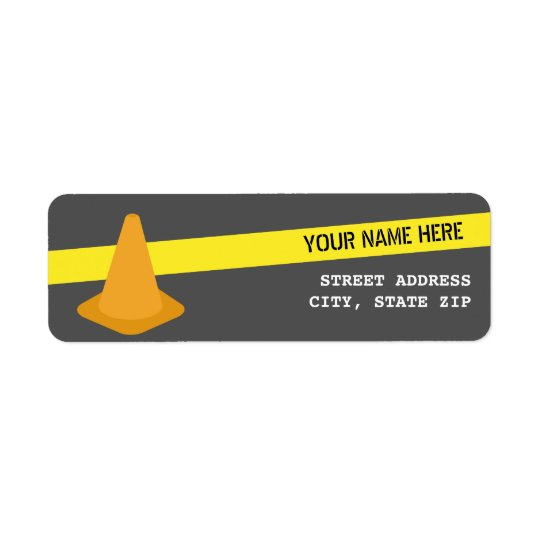 Orange Cone + Caution Tape Construction Birthday Return Address Label