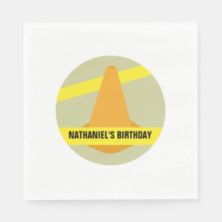 Orange Cone Construction Birthday Napkins Disposable Serviettes