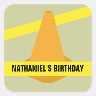 Orange Cone & Construction Tape Birthday Party Square Stickers