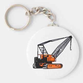 Orange Construction Crane Basic Round Button Key Ring
