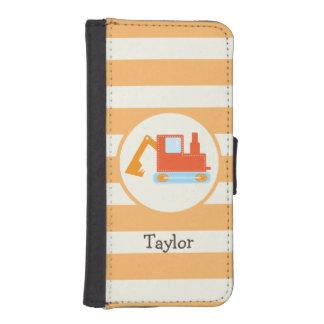 Orange Construction Toy Backhoe Phone Wallets