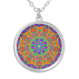 Orange Contrast Mandala Silver Plated Necklace