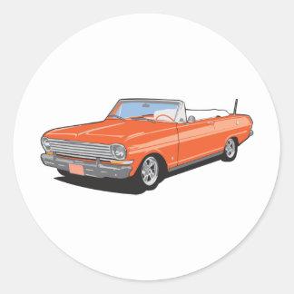 Orange Convertible Classic Round Sticker