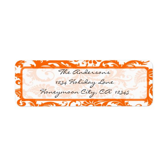 Orange Coral Damask Black Calligraphy Address