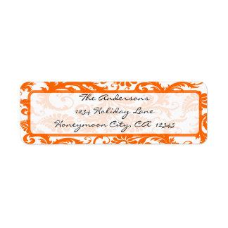 Orange Coral Damask Black Calligraphy Address Return Address Label