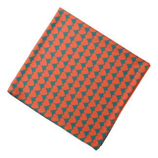 Orange Coral Hearts on Dark Aqua Blue Head Kerchiefs