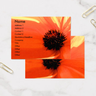 Orange Coral Poppy Floral Business Cards