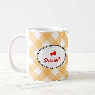 Orange country gingham pattern red cherry personal coffee mug