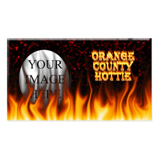 Orange county hottie fire and flames Red marble. Double-Sided Standard Business Cards (Pack Of 100)