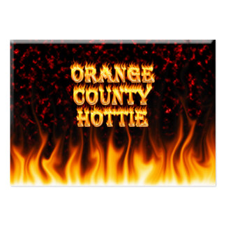 Orange county hottie fire and flames Red marble. Large Business Cards (Pack Of 100)