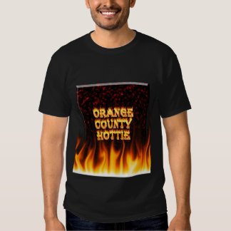 Orange county hottie fire and flames Red marble T-shirts