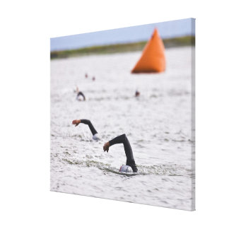 Orange course marker buoy. canvas print