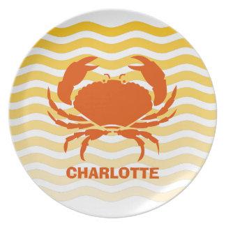 Orange crab on a sandy seashore plate