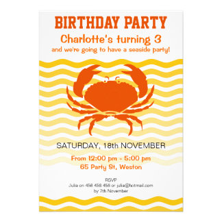 Orange crabs on the sandy seashore party cards