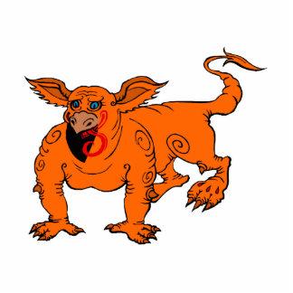 Orange Crawling Silly Dragon Acrylic Cut Outs