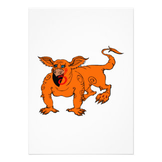 Orange Crawling Silly Dragon Personalized Invites