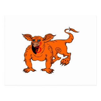 Orange Crawling Silly Dragon Postcard