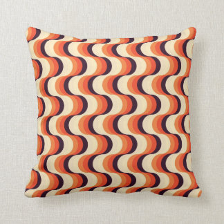 Orange, Cream, Brown Retro Fifties Abstract Art Cushions