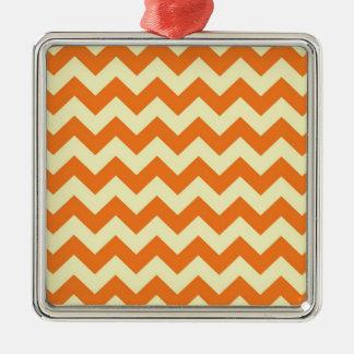 Orange Cream Citrus Chevron ZigZag Stripes Gifts Silver-Colored Square Decoration