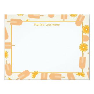 Orange Cream Ice Pop Flat Notecards Invite