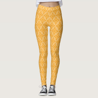 Orange Cream Satin Pastel Stars Leggings