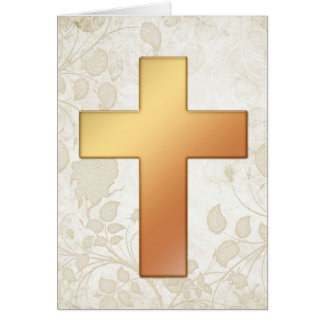 Orange Cross 1 Christian Greeting Card