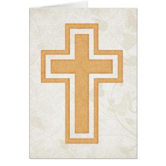 Orange Cross 2 Blank Christian Greeting Card