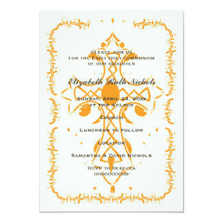 Orange Cross First Communion Confirmation Card